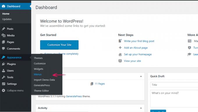 WordPress Dashboard > Appearance > Menus