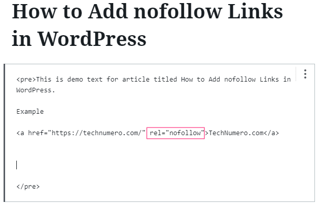 Switch to Edit as HTML to make a link nofollow in Gutenberg/Block Editor