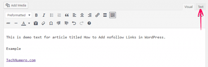Switch to Text Editor to make a link nofollow in Classic WordPress Editor