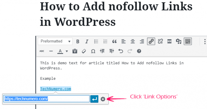 Click WordPress Link Options