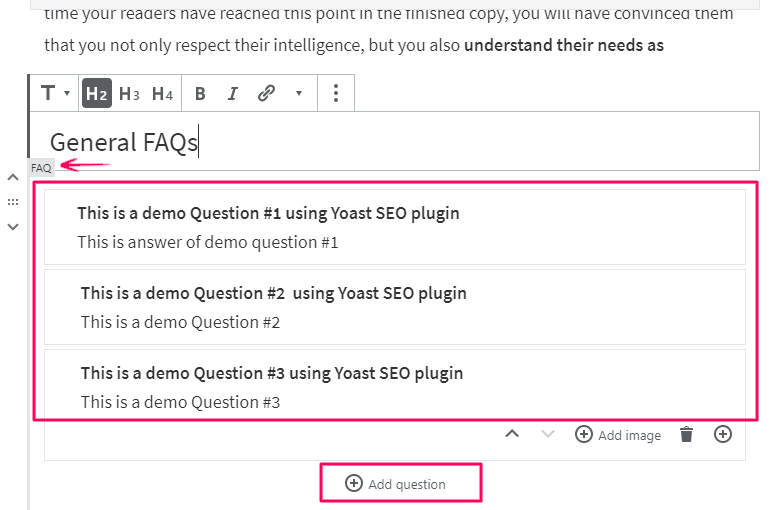 Adding FAQs in WordPress using Yoast FAQ Block