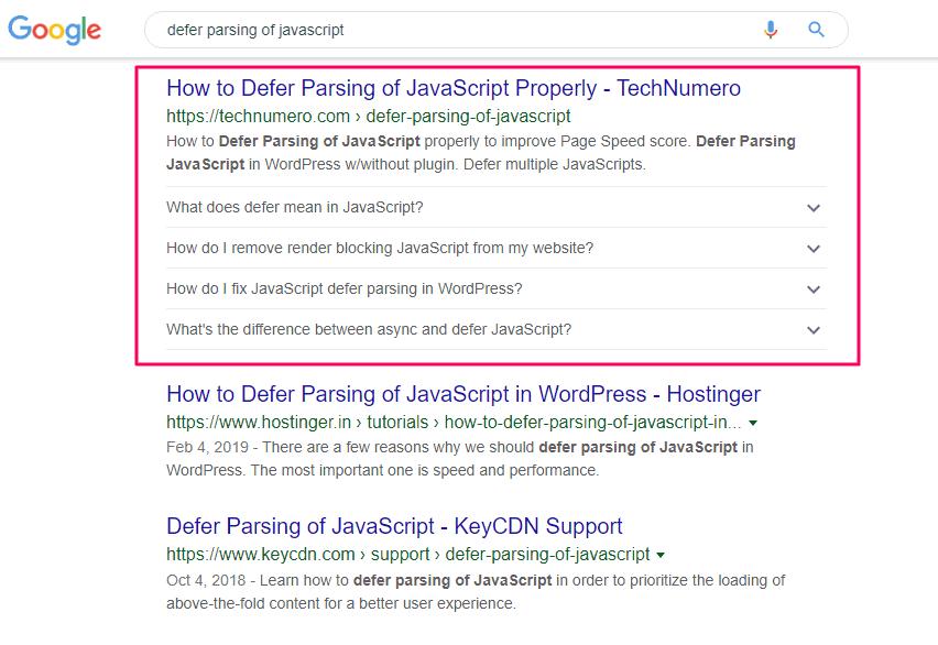 FAQ Rich Result in Google Search Desktop
