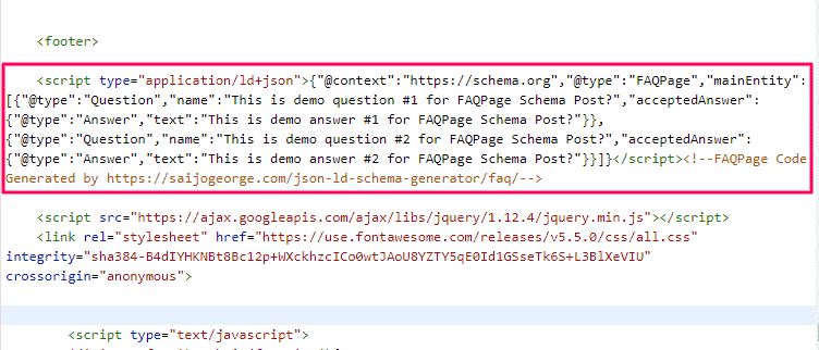 Paste Generated FAQ Schema JSON-LD markup on the webpage