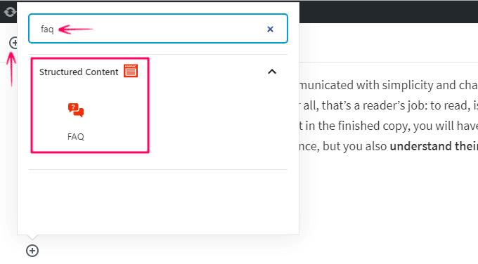 FAQ block added by the Plugin in Block Editor