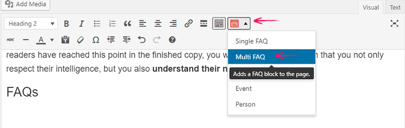 FAQ Button enabled by Structured Content Plugin in Classic Editor